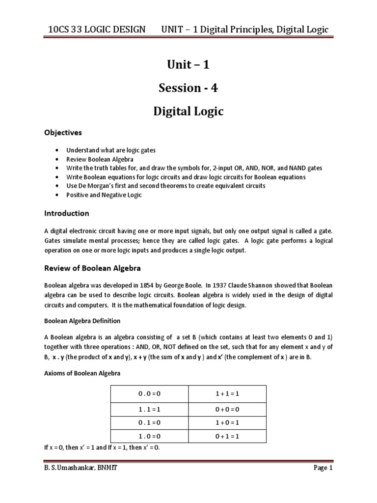 10cs33 Logic Design Notes Gate Boolean Algebra Electronic Circuit And