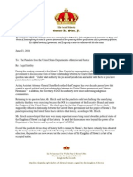 140623_King's Letter to the Panelists of Department of Interior - Waimanalo Letter - Liability