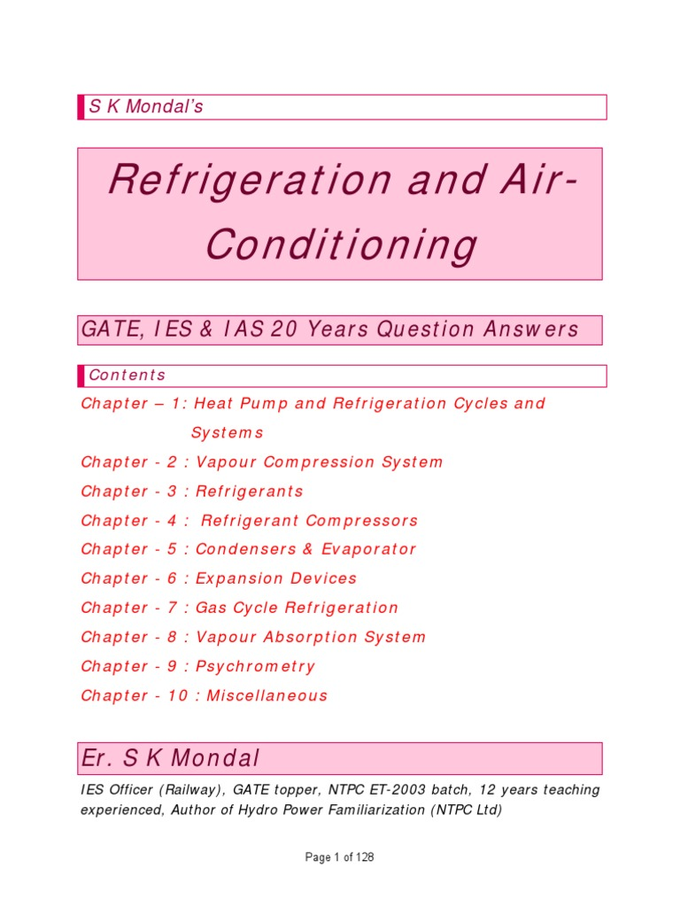 RAC IES GATE IAS 20 Years Question and Answers by S K Mondal | Heat