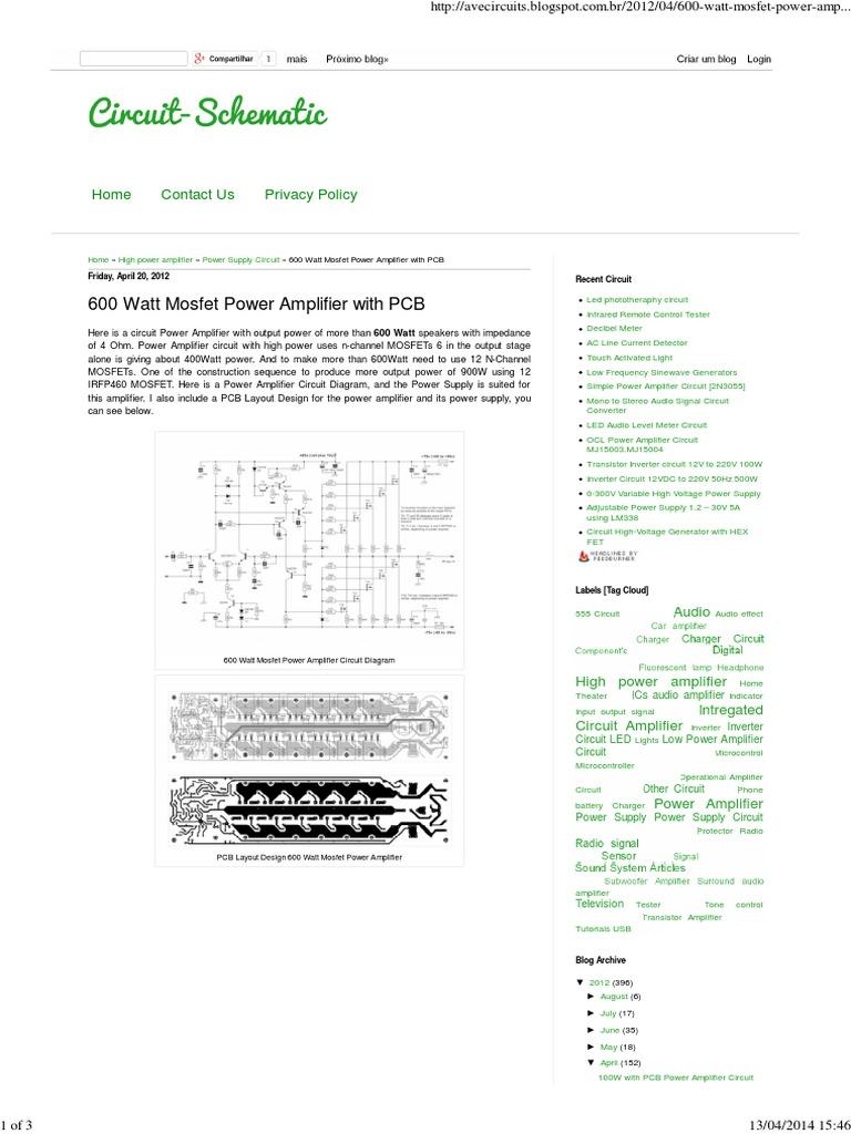 600 Watt Mosfet Power Amplifier With Pcb | Amplifier | Electronic