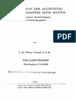 Die Lehre Von Der Acceptatio Divina Bei Johannes Duns Scotus