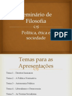 Seminario de Filosofia - Politica- Etica e Sociedade