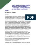 Consideraciones Sísmicas Para El Diseño de Presas de Tierra y Procedimiento a Seguir Para Evaluar El Comportamiento de Las Obras