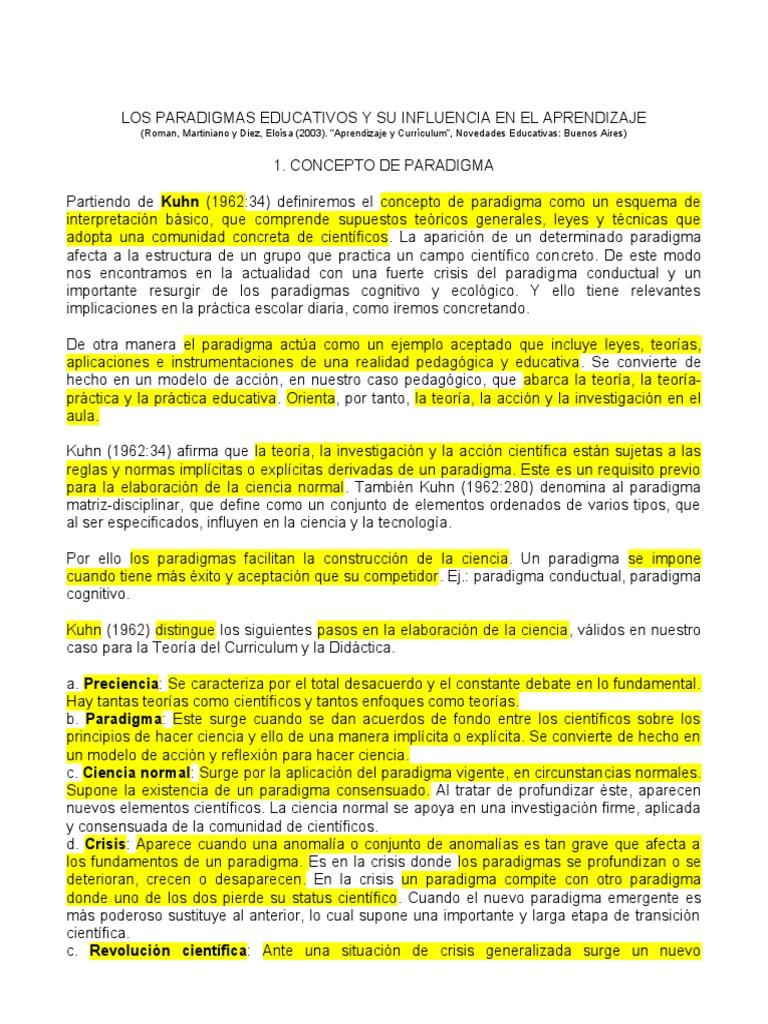TXT Paradigmas Educativos Roman y Diez