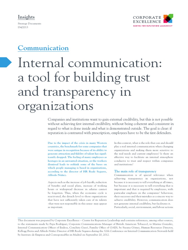I34 Internal Communication a Tool for Building Trust and