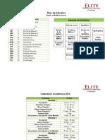 Calendario de Actividades, Escuela de TEologia