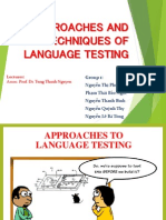 Approaches & Techniques of Language Testing