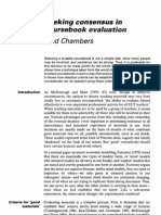 Seeking Consensus in Course Book Evaluation