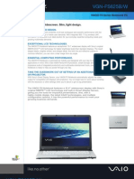 Sony Vaio VGNFS625BW Specification