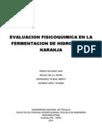 Evaluacion Fisicoquimica en La Fermentacion de Hidromiel de Naranja