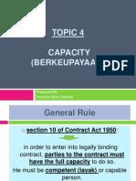 (4) Contract - Capacity