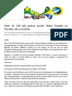 Mais de 140 Mil Podem Perder Bolsa Família Na Paraíba, Diz Secretária