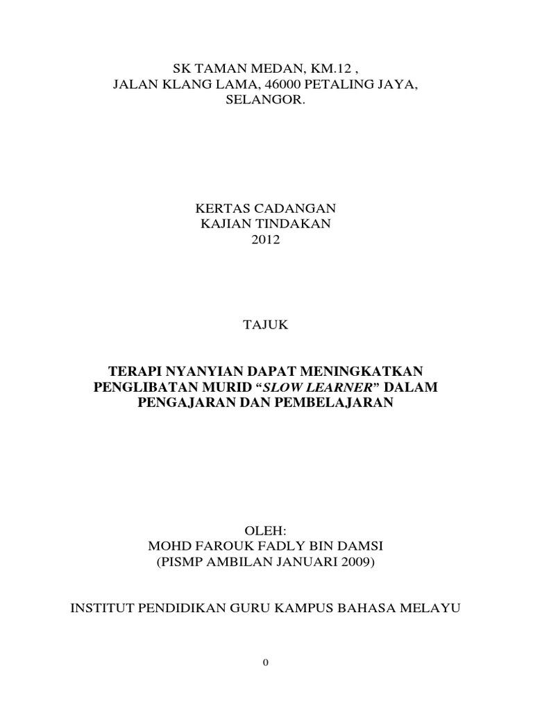 Kt Proposal Kajian Tindakan Pendidikan Khas Farock