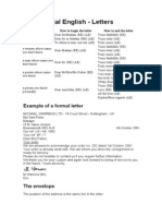 Carta Formal en Inglés