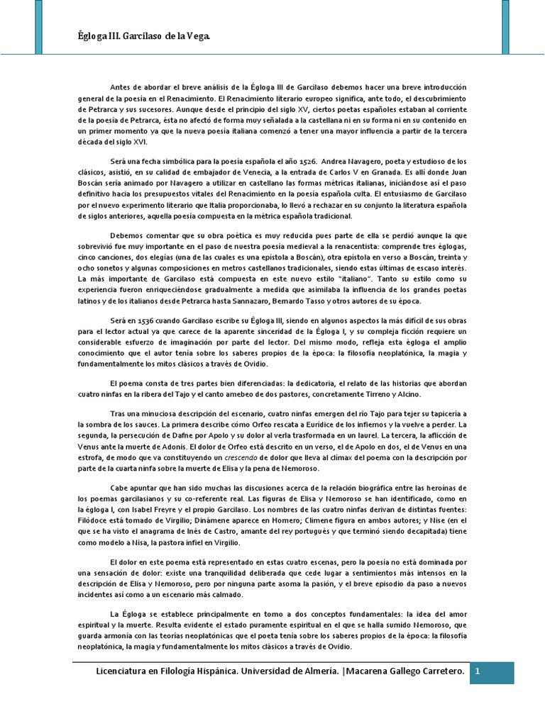 égloga Iii Garcilaso De La Vega Poesía Metro Poesía