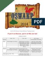OSWARP 2014 Schedule