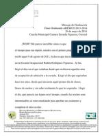 Mensaje Clase Graduanda AREXIUS 2014