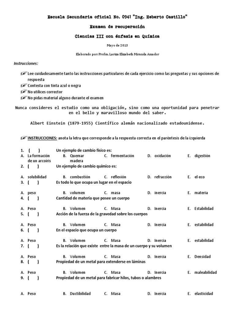 Examen de recuperacin de qumica y gua urtaz Image collections