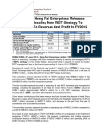 HK-Listed Heng Fai Enterprises Releases FY2014 Results; New REIT Strategy to Contribute to Revenue and Profit in FY2015