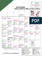 SCDNF July 2014 Schedule