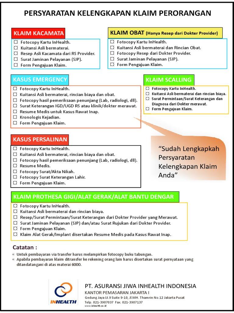 kelengkapan berkas pengajuan klaim perorangan 2013