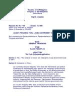 Local Government Code - RA 7160