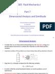 ME 305 Part 7 Similitude and Dimensional Analysis