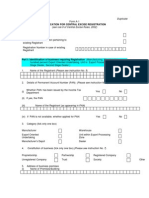 Central Excise Registration Form