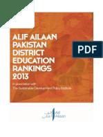 Alif Ailaan Pak Dist Education Ranking 2013 Report