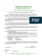 Statement of Third Congress of the Palaung State Liberation Front (PSLF) eng.