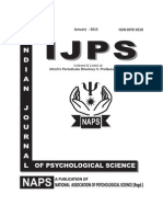 INDIAN JOURNAL OF PSYCHOLOGICAL SCIENCE, JAN-2013