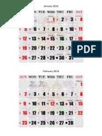 Myanmar Calendar 2014