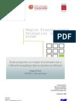 """étude Franche-Comté """"Efficacité énergétique, quels emplois pour demain ?"""" - Partie 1 Etat Des Lieux"""