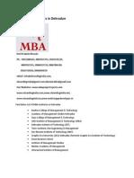 List of MBA Institutes in Dehradun