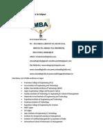 List of MBA Institutes in Jaipur