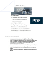 Project Report Titles for MBA in Health Care