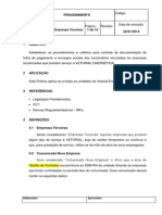 Procedimento - Controle Documentos Empresas Terceiras.