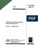 Covenin Carreteras 2000-1-1991 Vigente