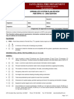 Fire Sprinkler System NFPA 13 Plan Review Checklist