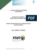 Unidad 2. Requerimientos Para El Analisis Del Diseno Orientado a Objetos