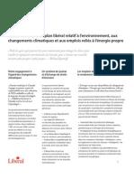 Points saillants d'un plan libéral relatif à l'environnement, aux changements climatiques et aux emplois reliés à l'énergie propre