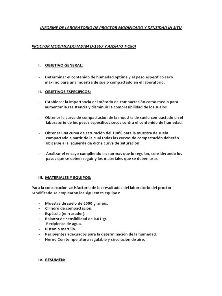 Informe de Laboratorio de Proctor Modificado y Densidad in Situ 4343434