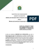 Manual de Selecao Para o Projeto Cidades Digitais Anexo i Minuta de Acordo de Cooperacao Tecnica