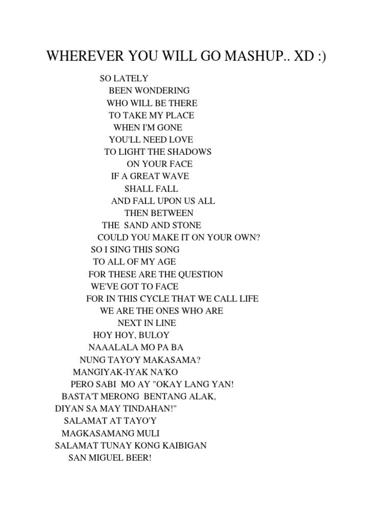 Lyrics The Calling Wherever You Will Go Espaol Archidev