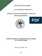 Analisis de Agua de riego del canal de Llutupi en Patate