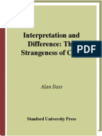 Alan Bass Interpretation and Difference