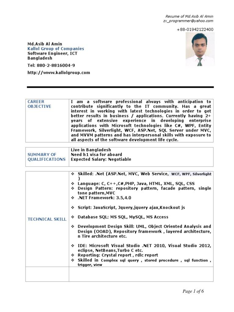 Asib Al Amin Cv   Microsoft Visual Studio   J Query