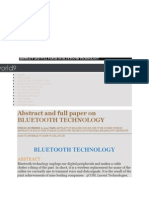Abstract and Full Paper on BLUETOOTH TECHNOLOGY