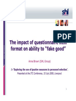 2008 (Anna Brown) the Impact of Questionnaire Item Format on Ability to Fake Good