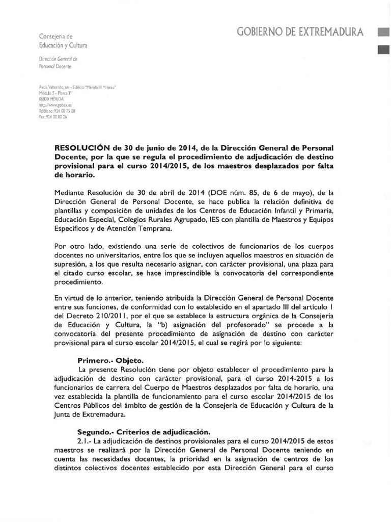 Maestros Desplazados Por Insuficiencia Horaria 2014-2015